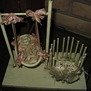 REDUCED Bisque Baby Doll in Cradle Gift Container from Early 1900s