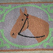 Hand Hooked Rug Folky Horse Rug Pristine Mennonite Made