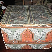 REDUCED Antique Wallpaper Covered Wooden Box with Lid Lancaster Pa News