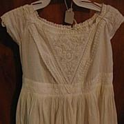 Antique Mid 1800s White on White Work Baby Toddler Dress
