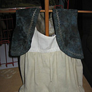 Blue Velvet Vest and Wool Petticoat for Antique Doll Early 1900s Childs