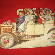 REDUCED Large Vintage Diecut Early Auto with Victorian Style Children Valentine