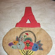 Adorable Doll Purse with Oriental Flavor and Appliqued Flowers