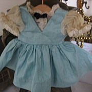 Lovely Aqua Doll Dress with Metallic Gold Threads and Gauze Puff Sleeves