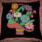 Lancaster Pa Mennonite Made Velvet Stumpwork Basket of Flowers