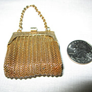 SALE Miniature Gold Mesh Purse for Doll