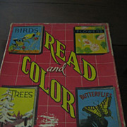 SALE Childrens Books 1940s Read and Color Books in Original Box Saalfield Pub Co
