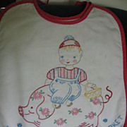3 Wonderful Embroidered Bibs Tell Story of Pigs Going To Market