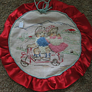 REDUCED Embroidered Pillow Cover Kids on Motor Scooter