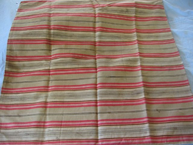 Large Old Red and Brown Ticking Pillow Cover