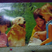 SALE Souvenir Squeak Postcard Children and Golden Retriever