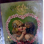 SALE Two Little Girls Kissing Early 1900s Embossed Greeting Card