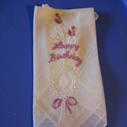 Happy Birthday Hankie Lovely Vintage Lavender Embroidered Hanky