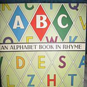 SALE An Alphabet Book in Rhyme 1940s Childs Book McLoughlin Bros