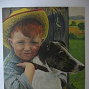 SALE Cute Freckled Face Farm Boy and Faithful Dog
