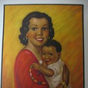 SALE Vintage Print Hispanic Mother with Child