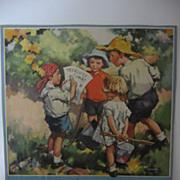 SALE British Artist Gaffron Calendar Print Kids on Treasure Hunt