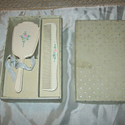 SALE Vintage Baby Comb & Brush Set in Original Star Studded Box