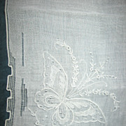 Butterfly Hankie Lovely Vintage Embroidered Fancy Hanky