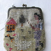 Miniature Beaded Purse with Girl Goose and House Scene