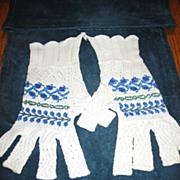 REDUCED Beaded Half Finger Gloves Unusual Crocheted Handwarmers