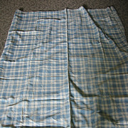 REDUCED Antique Hand Stitched Blue Plaid Mattress Cover