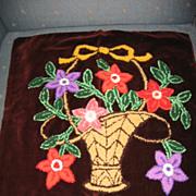 REDUCED Mennonite Stumpwork Pillow Top Lovely Flower Basket on Burgundy Velvet