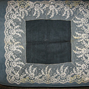 SALE Vintage Lace and Black Center Hankie or Scarf