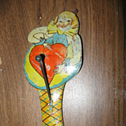 SALE Rare Valentine Tin Lithographed Diecut Noise Maker Germany