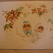 Victorian Greeting Card Sweet Girls in White Fur