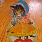 SALE Large Kitten Valentine with Fan & Honeycomb Skirt
