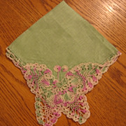 Vintage Hankie with Crocheted Butterfly