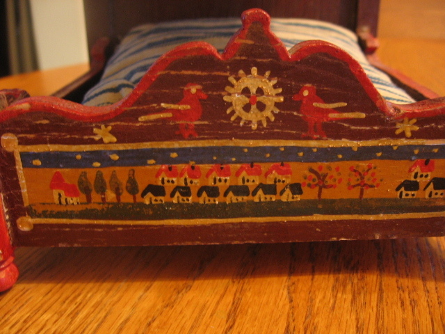 Hand painted folk art doll bed unique one of a kind from for One of a kind beds