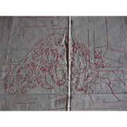 Victorian Redwork Pillow Sham with Child Dog and Kitty Cat