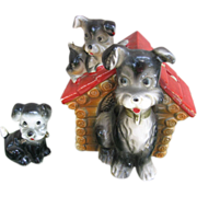 Old Ceramic Bank Mother Dog and Pups at Doghouse