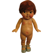 SALE Old Compo Kewpie Doll with Blue Oilcloth Shoes & Birthday Suit