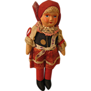 Czech Made Jointed Cloth Doll 1920s-30s