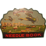 Vintage Germany Made Needlebook Great Plane & Ship Lithos