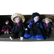 Vintage Bisque Amish Doll Family