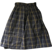 Doll Skirt for China Head Early 1900s Blue Plaid