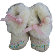 Vintage Leather Beaded Baby Shoes from Alaska