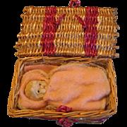 Vintage Miniature Bisque Baby in Basket