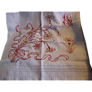 Victorian Turkey Redwork Floral Towel with Yellow Highlights