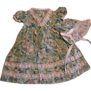 Vintage 3 Piece Doll Dress Bonnet & Undies
