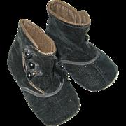 SOLD Antique Black Velvet Hightop Button Baby Shoes