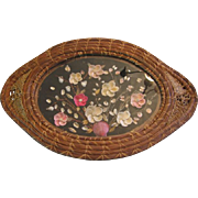 Beautiful Vanity Tray Shell Art Under Glass in Woven Basket Frame