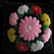 Vintage Stumpwork Pillow Lovely Floral Wreath