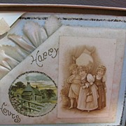 REDUCED Antique Greeting Card Celluloid Adornment Victorian Children