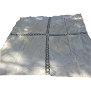 Antique 19th Century Homespun Linen Embroidered Bedspread with Lace Insert