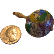 Miniature Carved and Painted Rattle for Doll